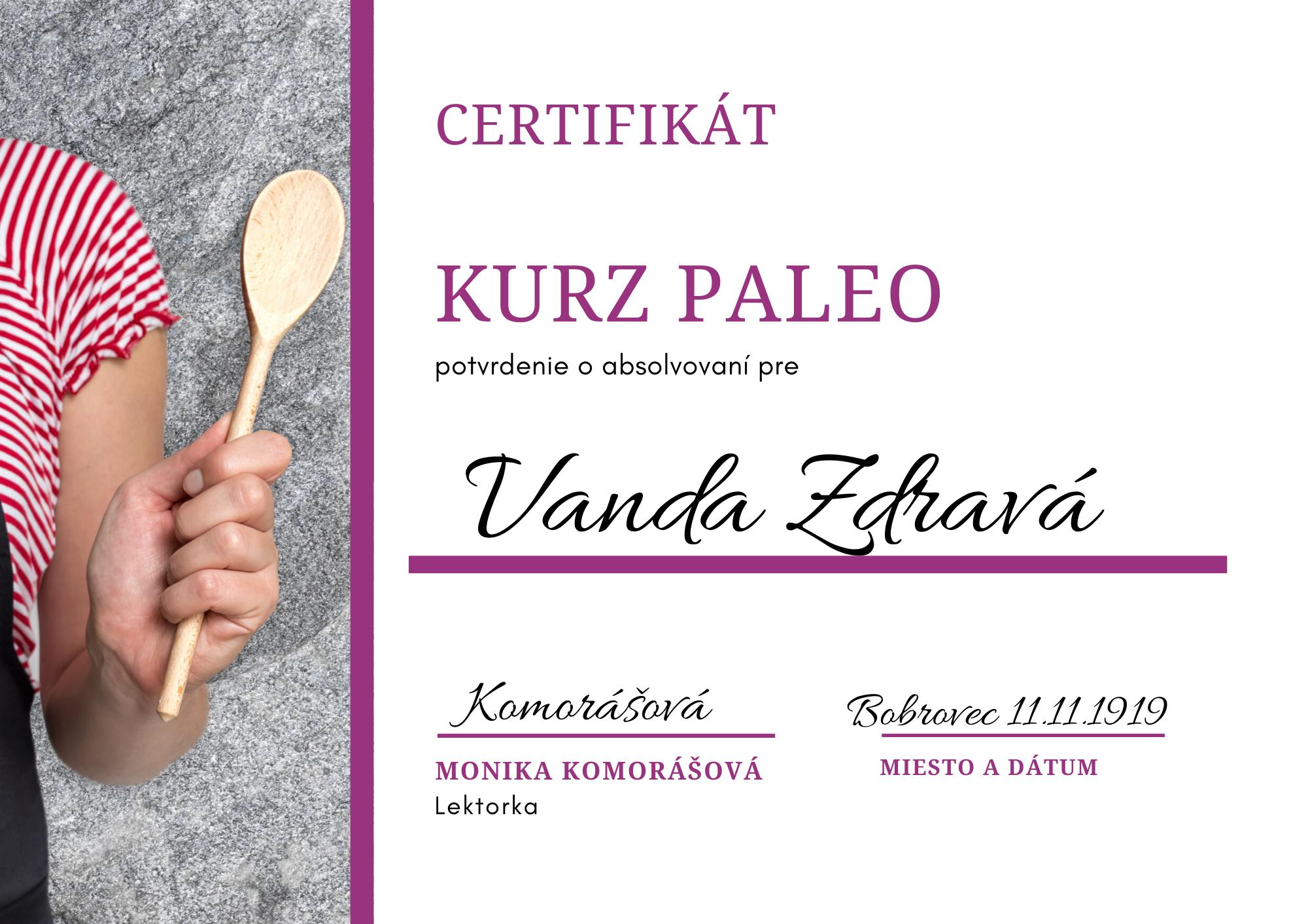 kurz paleo - certifikát